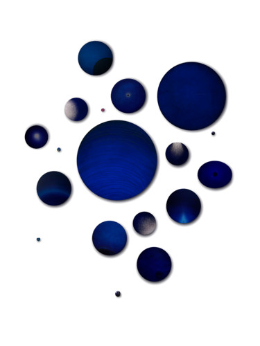 Composition des dessins réalisés à la base des pigments bleu